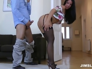 Black-haired hottie gets taken home by an older man