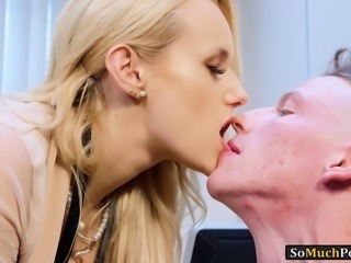 Busty blonde boss Angel Wicky pounded by an office intern