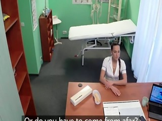 Euro nurse bent over and banged in office