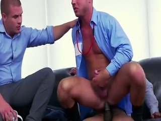 Anal pounding for horny gay coworker in office