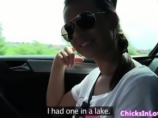 Amateur euro lezzies fingerfucking in the car
