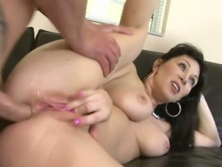 Horny mommy RayVeness fucks a hot guy in front of Ally Jordan