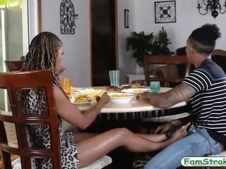 Two ebony teen girls foursome with nasty uncle and nephew