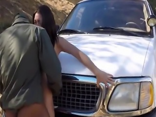 Big black cocked border agent fucking busty Latina whore on the border
