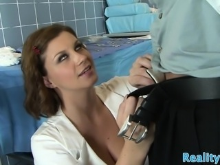 Busty nurse gets her face drenched with cum