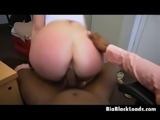 Bruentte Teen Beauty Backin Dat Ass Up Against Black Dink
