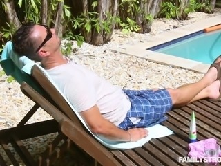 stepdad fucks his blonde princess outdoors