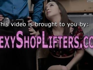 Shoplifting teen spunked