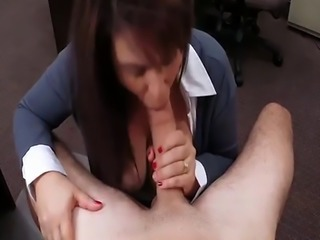 Huge tits woman sucks off and gets screwed by pawn man