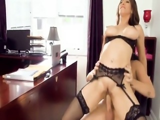 Stacked office slut Isis Love masturbates in chair before getting fuck