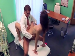 Nurse in uniform sucks doctors cock