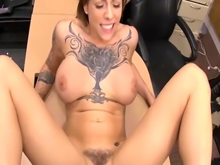 Huge titted tattooed woman gets railed at the pawnshop