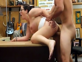 Brunette French babe banged in the pawnshop for plane ticket