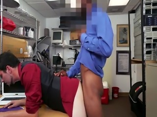 Skinny dude gets fucked against the desk doggystyle