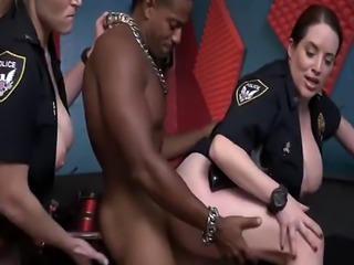 Big ass whores get pussies stretched by black cock in wild threesome