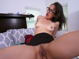 Leggy sexy brunette babe with long legs rides fat big cock on top