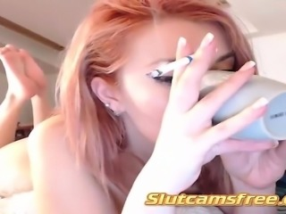 redheaded bitch smoking her cigarette all beautiful