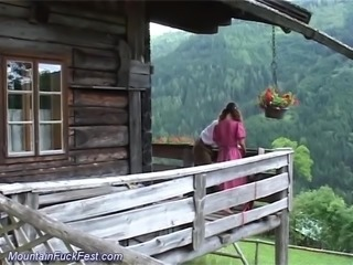 horny german couple loves to fuck outdoor in the maountains