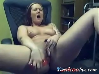 Chubby blonde on webcam dildo fucking her cunt with dildo ma