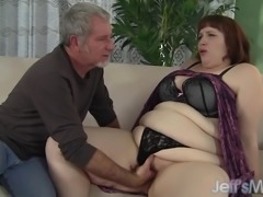 Fat ass Cherie A Lunas spreads her cheeks while being fuckeed
