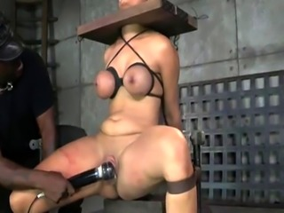 Busty bdsm sub gagged and toyed by black dom