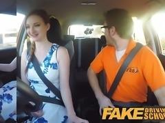 Fake Driving School pink nipples big tits redhead facial