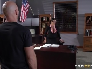 Pretty Brunette Cougar Enjoying A Hardcore Doggy Style Fuck In Her Office