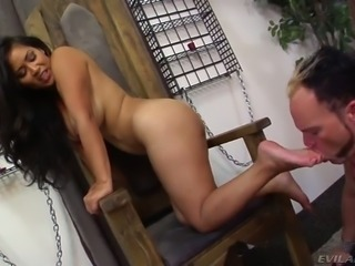Stupid freak licks wet asshole of sexy Asian fuck doll from behind