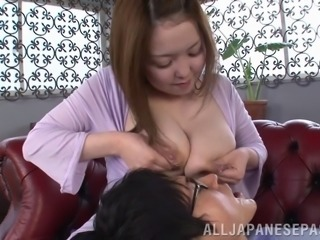 Kinky fetish fun as a chubby Japanese girl lactates on a guy