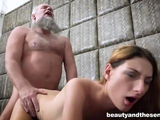 Elderly man gets lucky with insatiable honey Maya Crush
