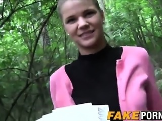 Nasty babe with natural tits rides fat dick in the woods