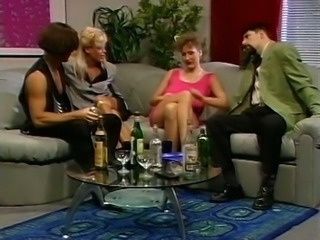 Mesmerizing and sassy blondies on the couch starting up foursome