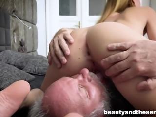 Maya Crush covered in semen after shagging an elderly fellow