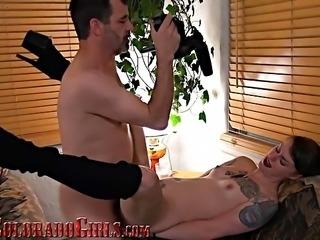 Horny Long Legged Tattooed Babe Cums Fucking Big Mature Cock