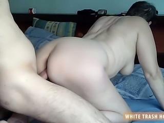 White trash brunette Zizi gets pounded doggy