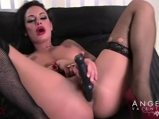 Angelina Valentine in stockings pleasuring herself using toys
