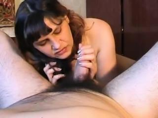 Mature babe gives sexy close up POV blowjob