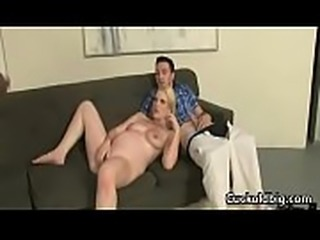 Sexy big tit wife nailed by big black cock while hubby watch 15