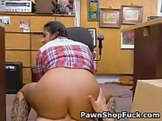 Brunette Beauty Lexie Banderas Riding Dick On Pawn Shop Floor