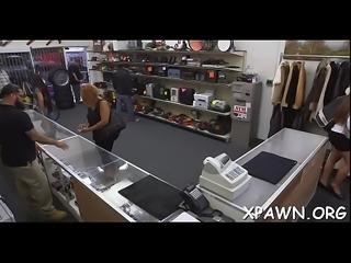 Sweet bitch has sex in shop