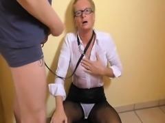 Mature with nylon fetish seducing chick