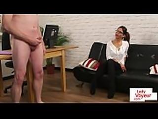 Spex voyeur humiliating cock jerking sub