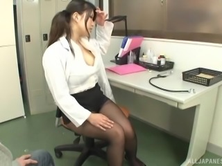 Horny office worker with big tits gets to suck on a big boner