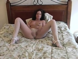 Ruth head to toe nylon covered dildo solo video