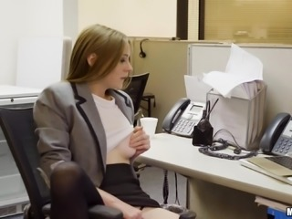 Magnificent office shag with cock craving beauty Ava