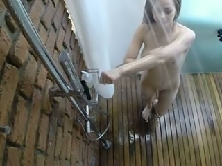 Hidden cam vid of sweet all natural girlfriend of mine taking a shower