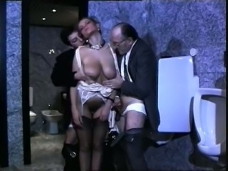 Majestic and lascivious busty babe groped and fed with dicks