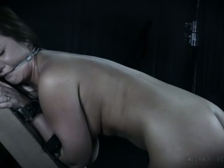 Brunette beautiful white chick with gorgeous ass nude and restrained for...