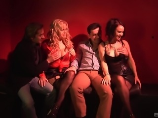 Alicia Rhodes and Elizabeth Lawrence enjoy a group sex session