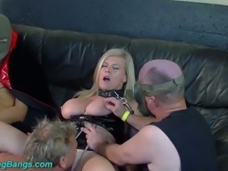 Blonde bimbo with fat ass and big natural breasts sucks dick in doggy style...